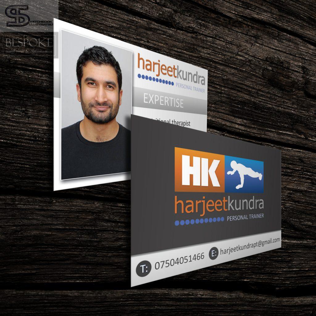 Harjeet Kundra Personal Trainer Business Cards - Sketchbook Illustrated