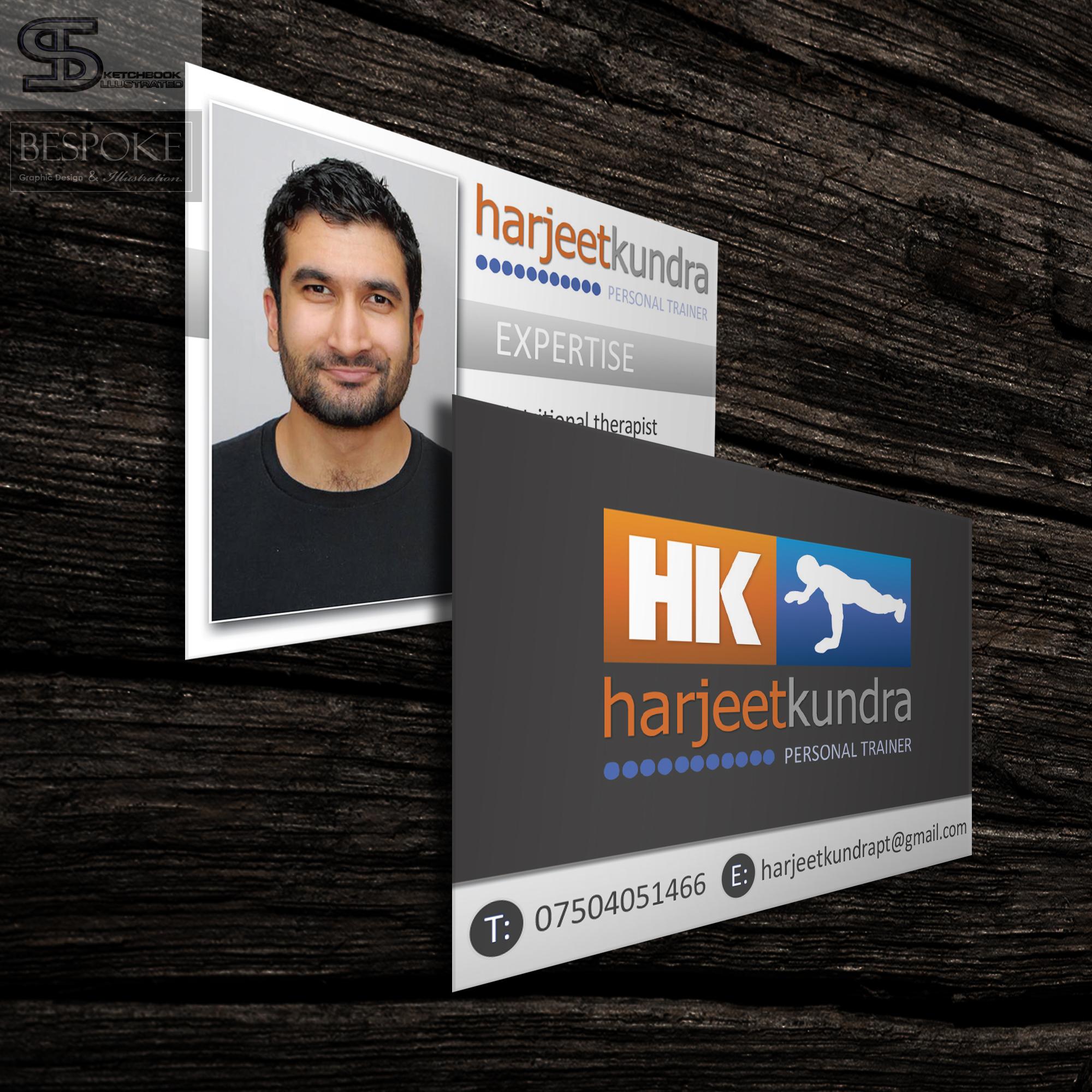 harjeet kundra personal trainer business cards sketchbook